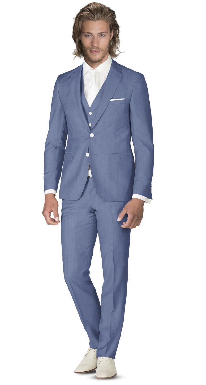 Kostuum Heren.3 Delig Heren Pak Voor De Bruidegom Blauw