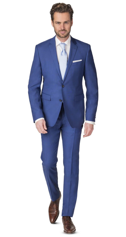 Kostuum Heren.Heren Kostuum Blauw Zuiver Wol Roka F25100 3 Super 100 Blauw